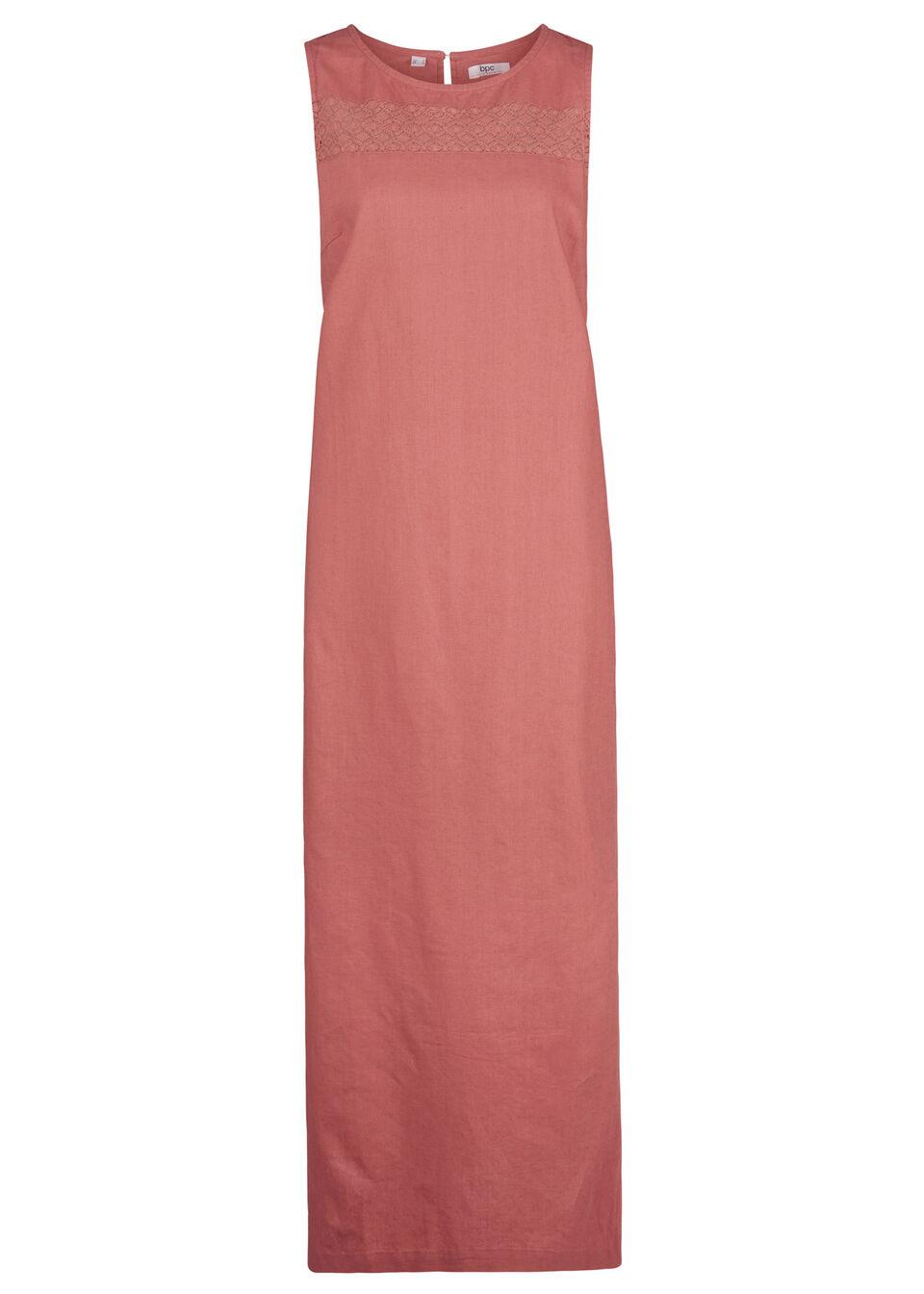 Sukienka lniana w ażurowy wzór, bez rękawów bonprix brązowy marsala