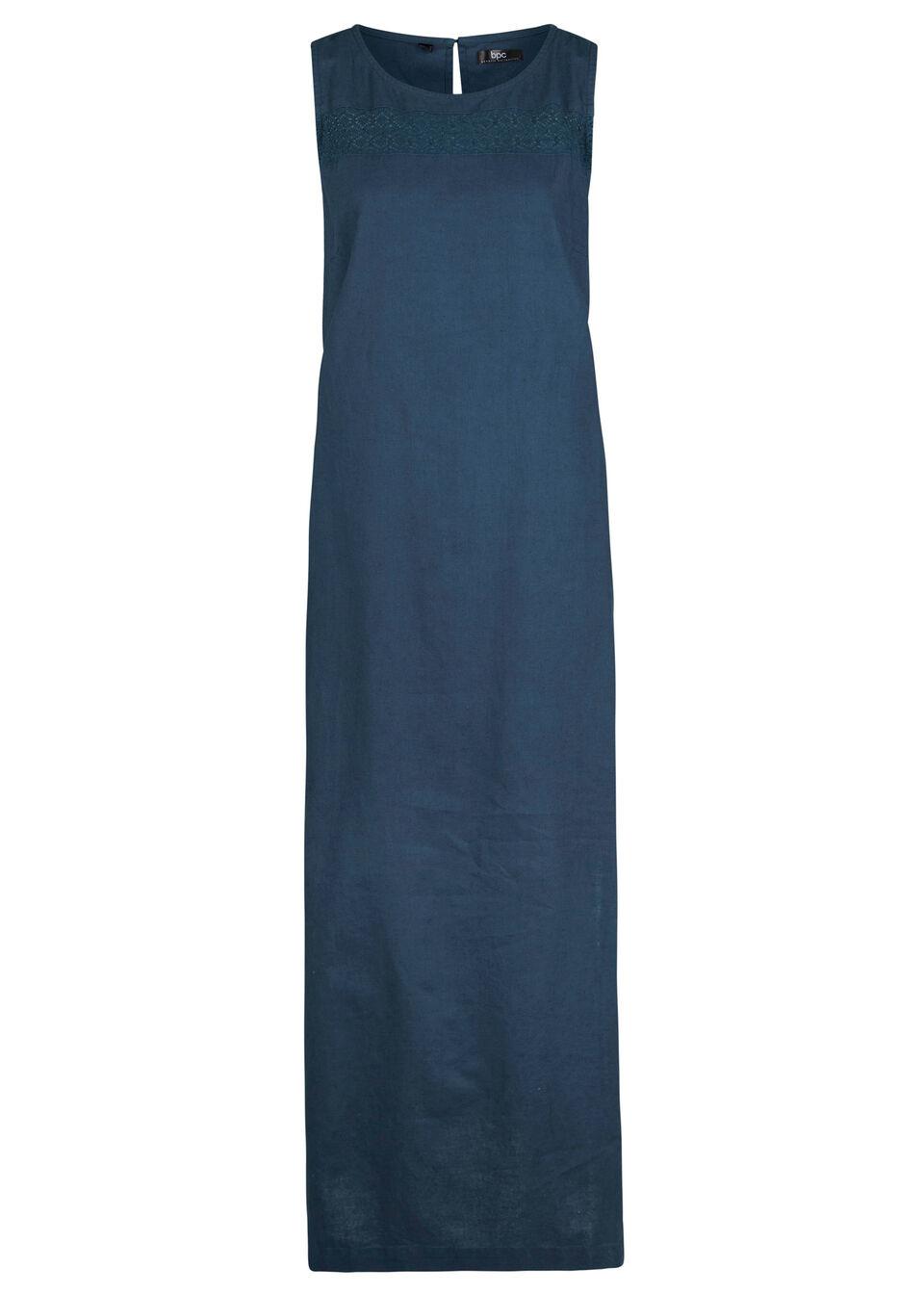 Sukienka lniana w ażurowy wzór, bez rękawów bonprix ciemnoniebieski