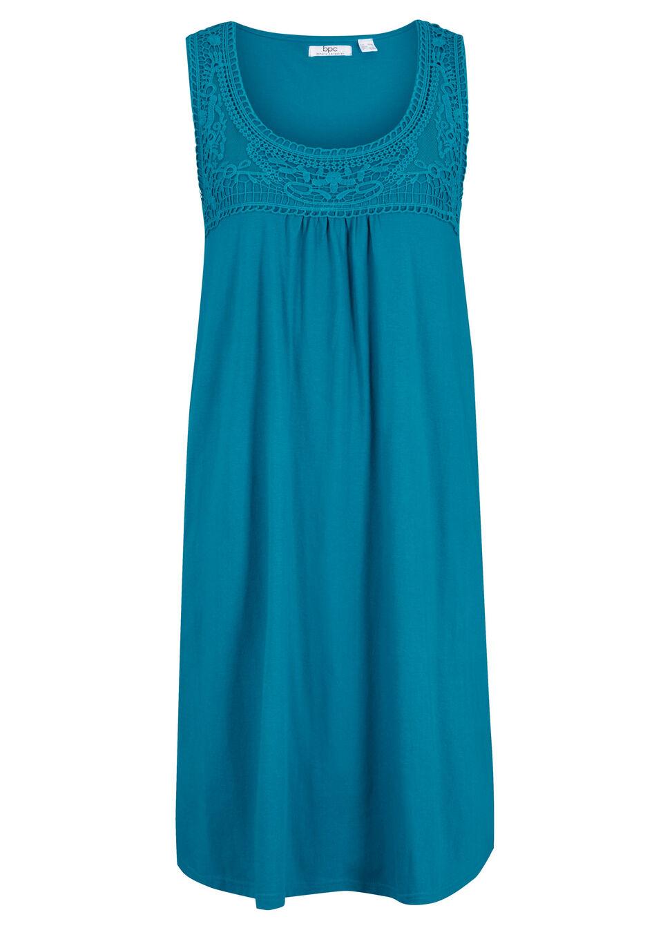 Sukienka shirtowa z bawełny z koronką, bez rękawów bonprix morski turkusowy