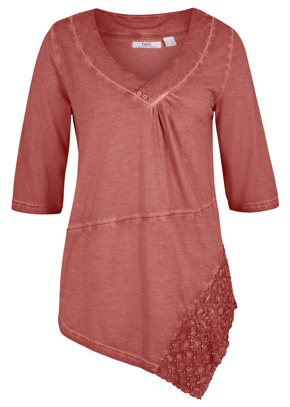 """Długi shirt """"cold-dye"""" z bawełny z koronkową wstawką bonprix brązowy marsala"""