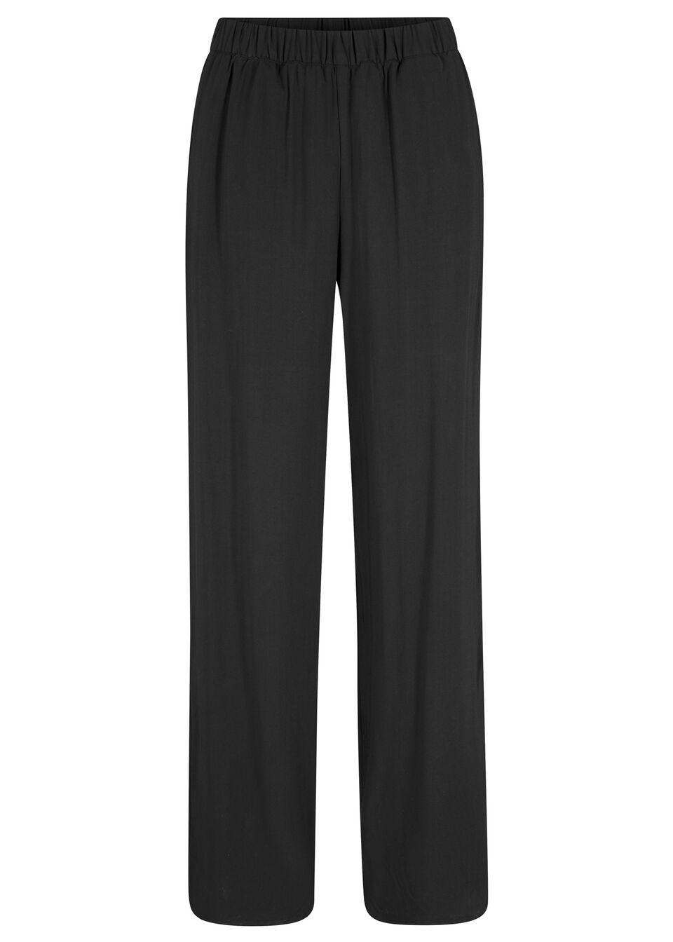 Spodnie z wiskozy w paski, z szerokimi nogawkami bonprix czarny