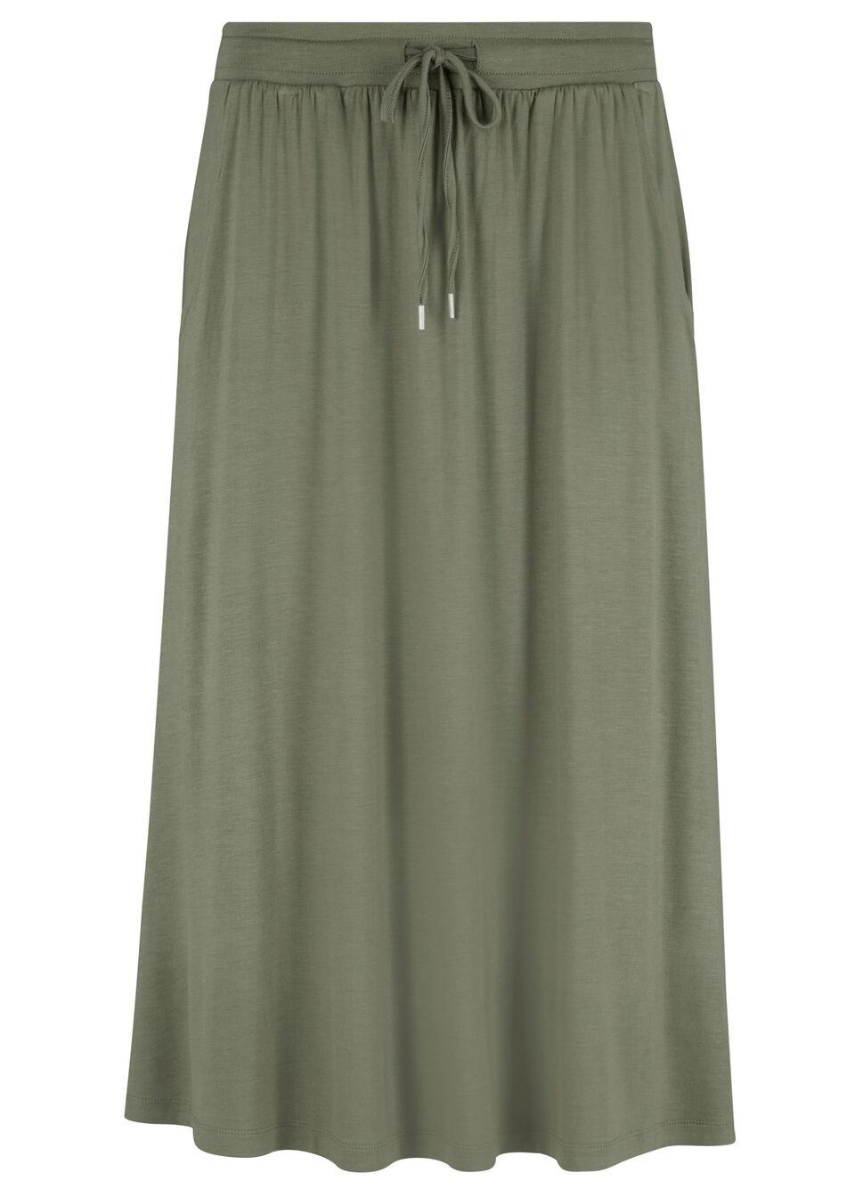 Spódnica z dżerseju w długości za kolano bonprix oliwkowy