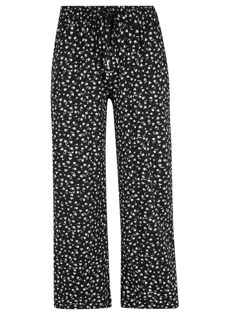 Spodnie z dżerseju, dł. 7/8 bonprix czarno-biały w kwiaty
