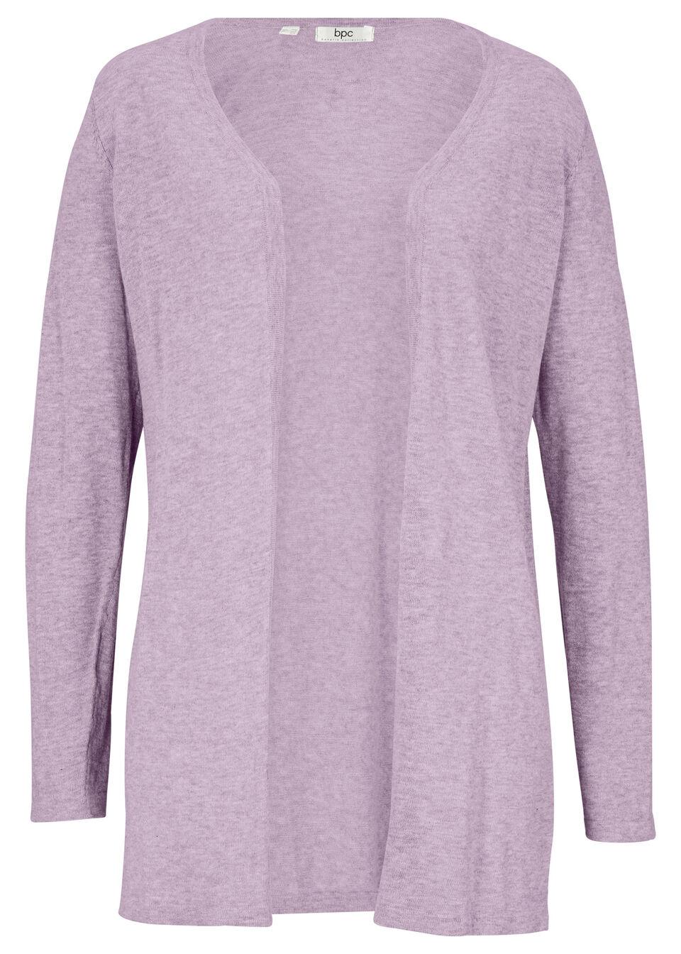 Sweter z lekkiej dzianiny bawełnianej bez zapięcia, z rozcięciami, bonprix dymny bez