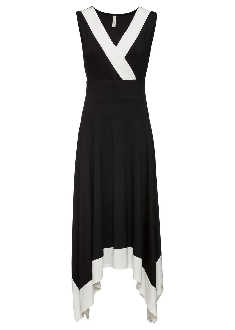 Sukienka midi z szeroką częścią spódnicową bonprix czarno-biały