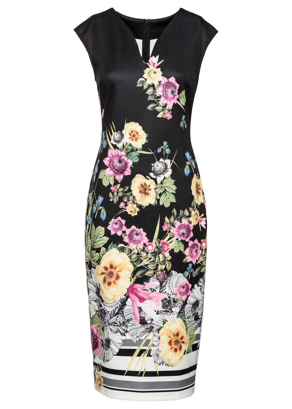 Sukienka w kwiaty bonprix czarny w kolorowe kwiaty