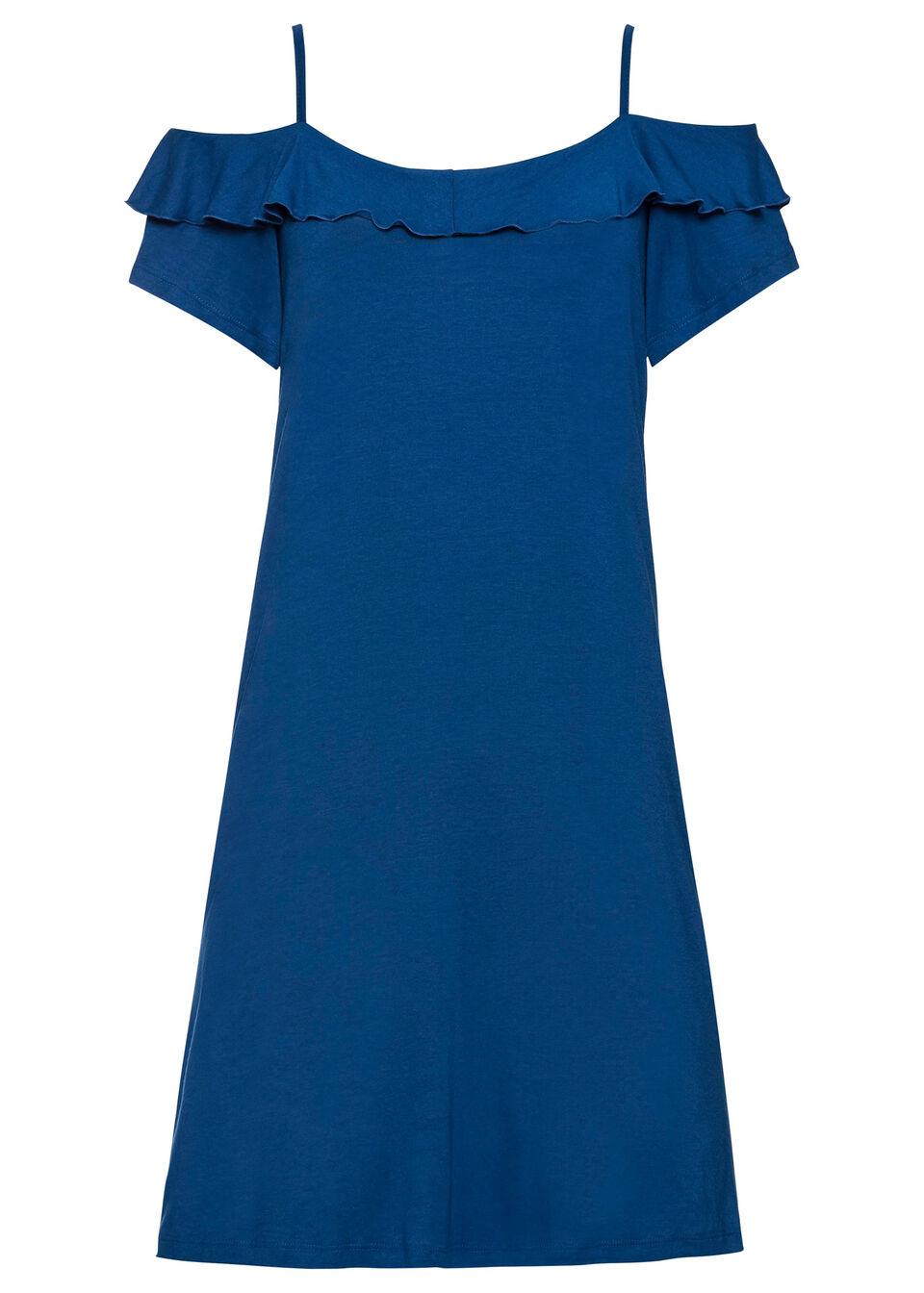 Sukienka cold-shoulder z dżerseju z falbanami bonprix niebieski Chagall