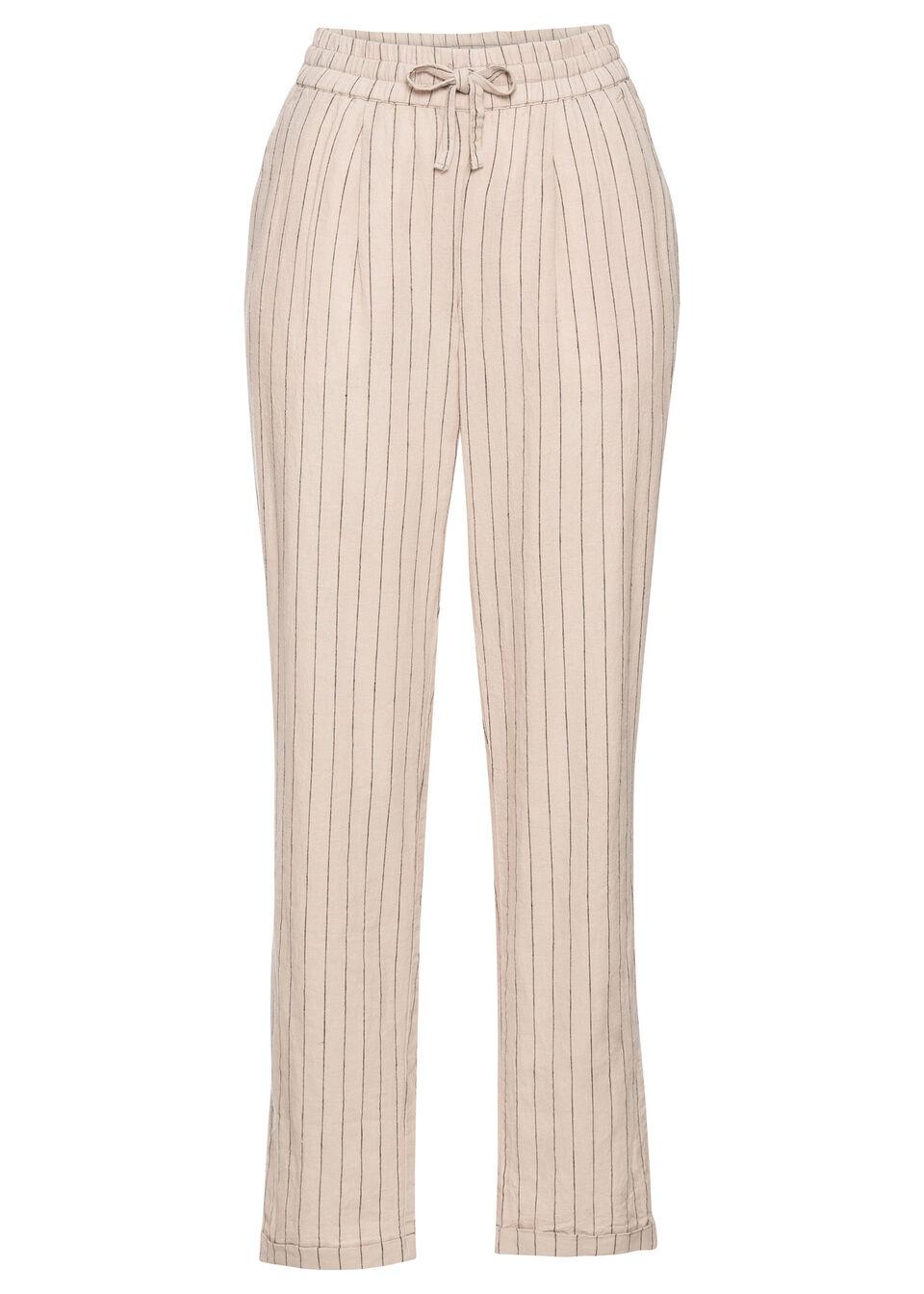Spodnie lniane bonprix jasnoszaro-czarny w paski