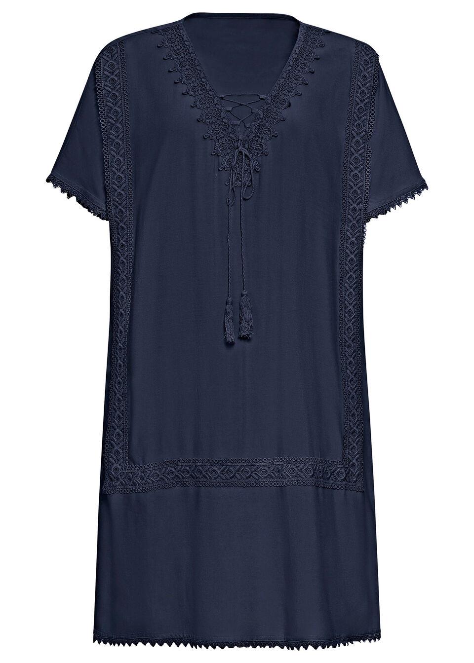 Sukienka tunikowa z koronką i wiązanym paskiem bonprix ciemnoniebieski