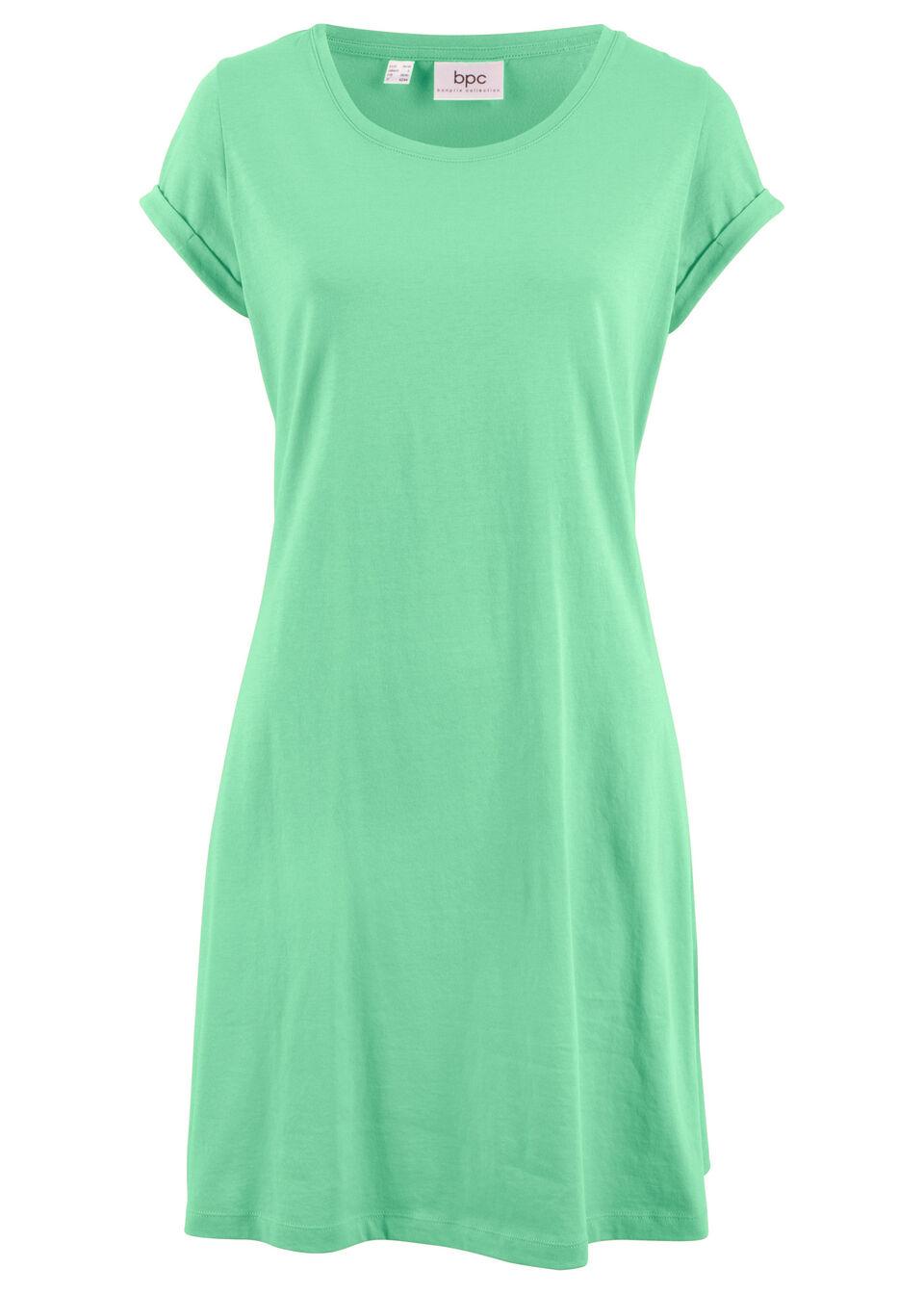 Sukienka shirtowa, krótki rękaw bonprix kremowy miętowy