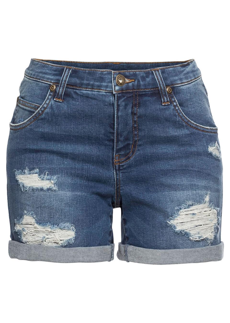 Szorty dżinsowe z ozdobnymi przetarciami bonprix niebieski