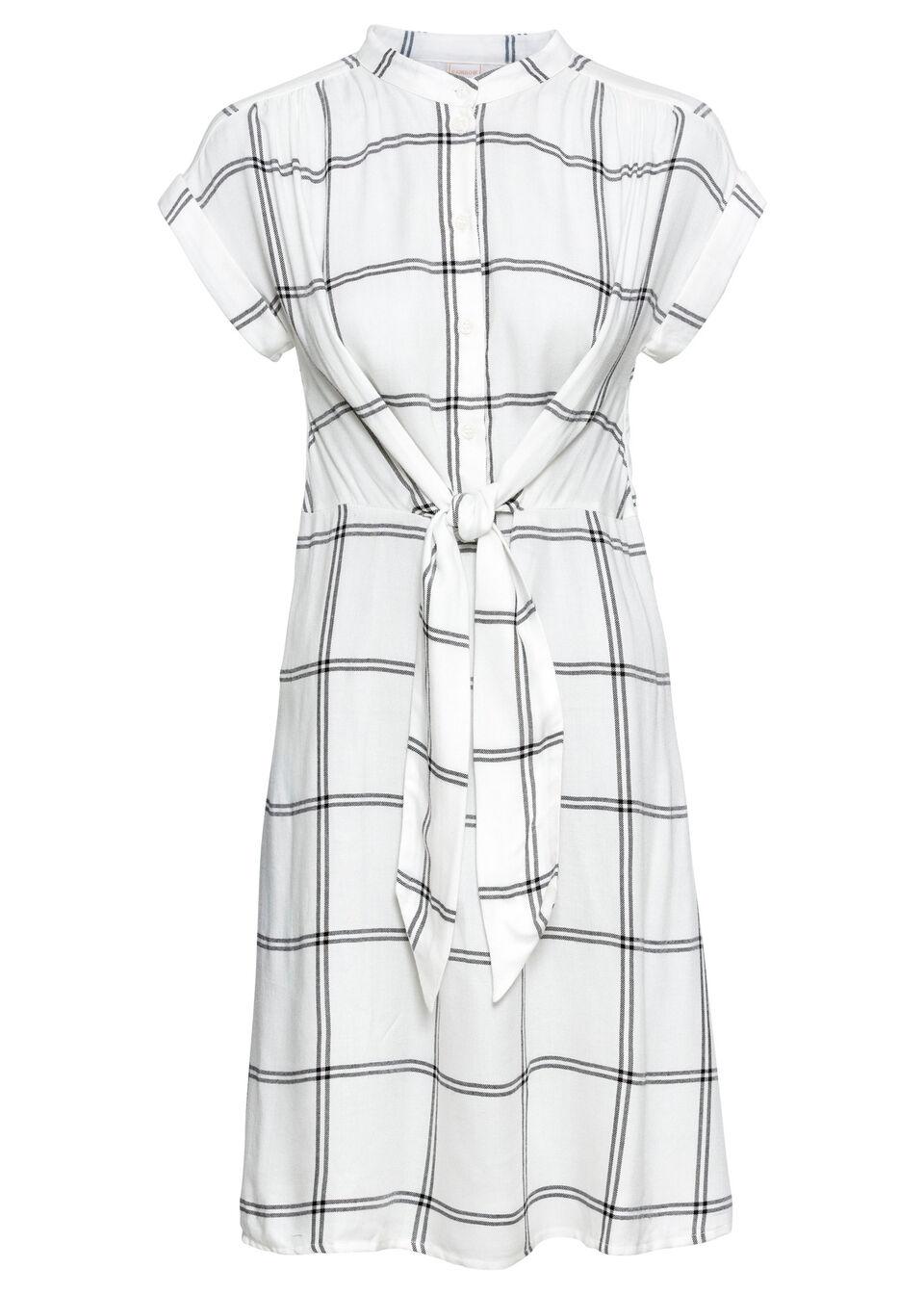 Sukienka koszulowa z wiązanym paskiem bonprix biało-czarny