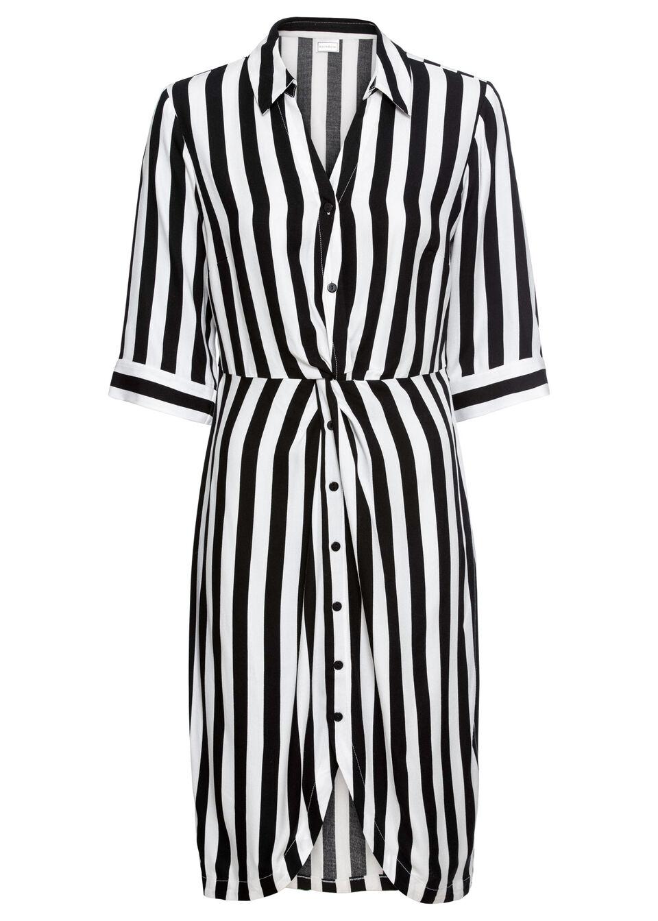 Košeľové šaty s pásikmi, krátke rukávy bonprix