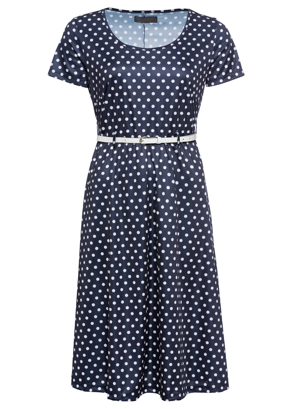 Sukienka z dżerseju w groszki bonprix ciemnoniebiesko-biały w kropki