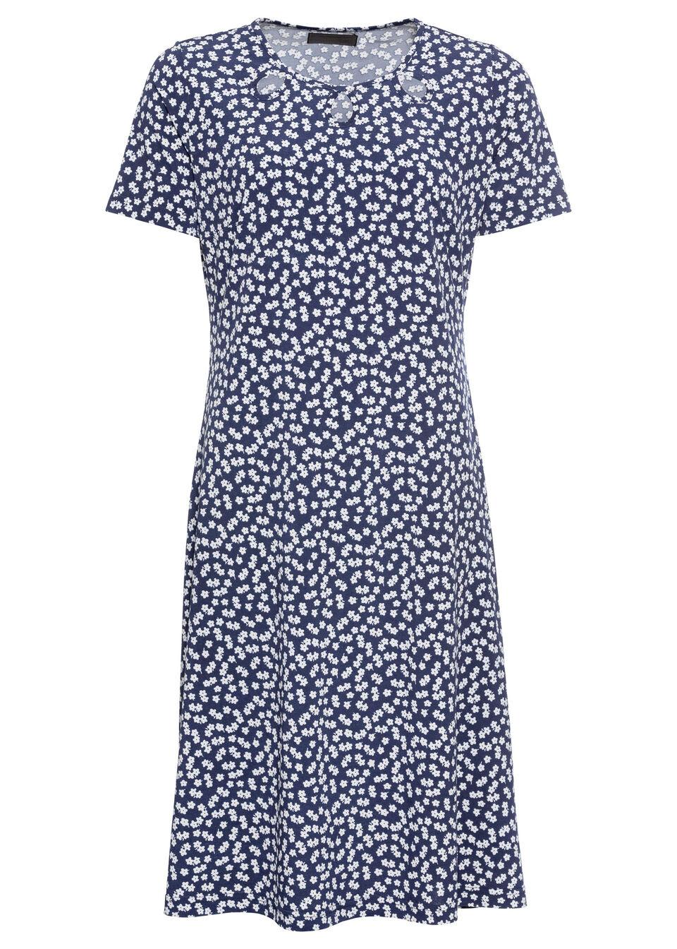 Sukienka z dżerseju w kwiaty bonprix ciemnoniebiesko-biały z nadrukiem