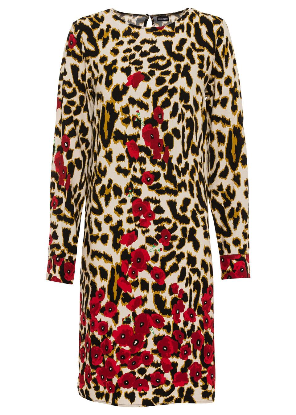 Sukienka w cętki leoparda bonprix beżowy z nadrukiem