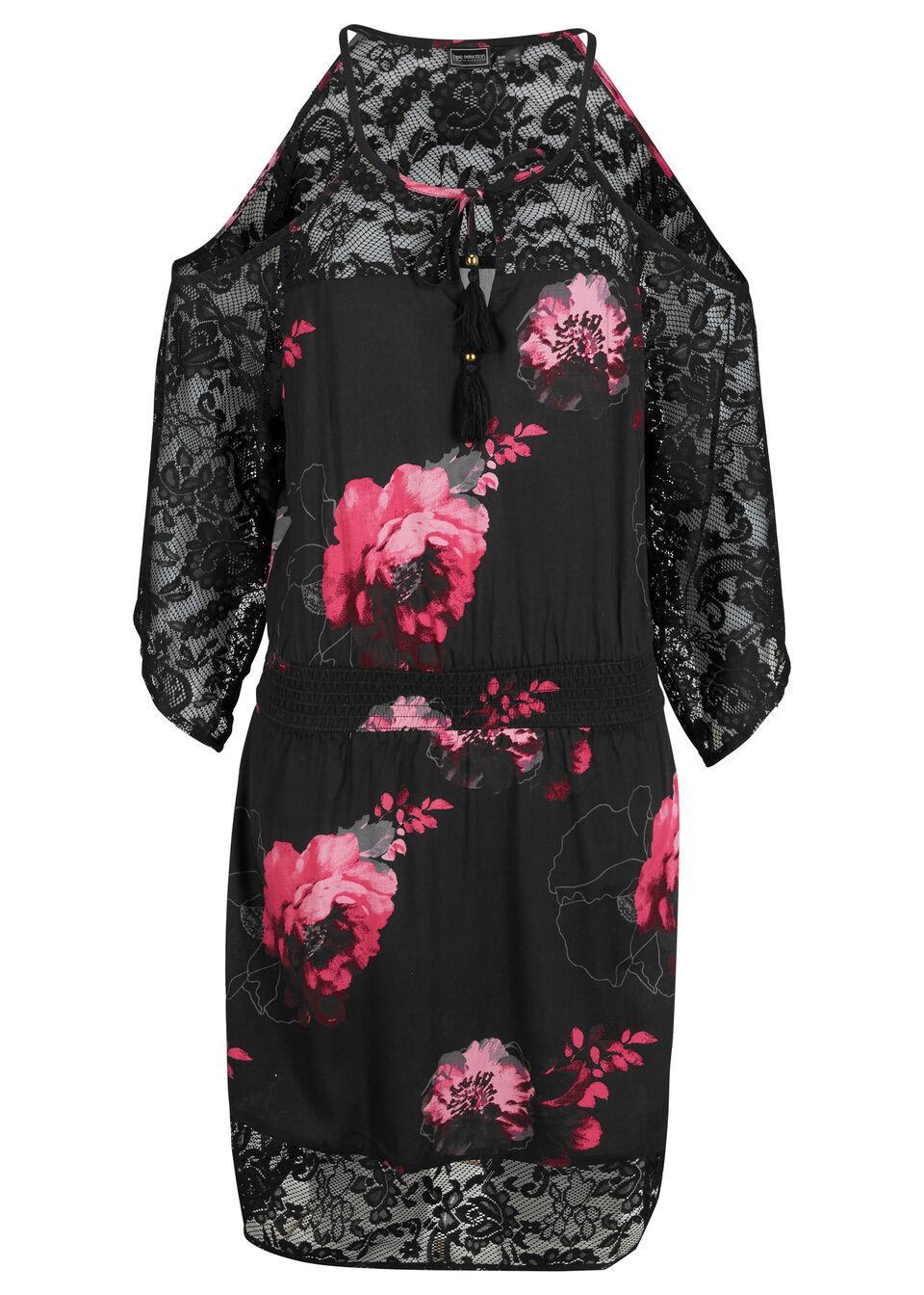 Sukienka plażowa bonprix szaro-różowy w kwiaty