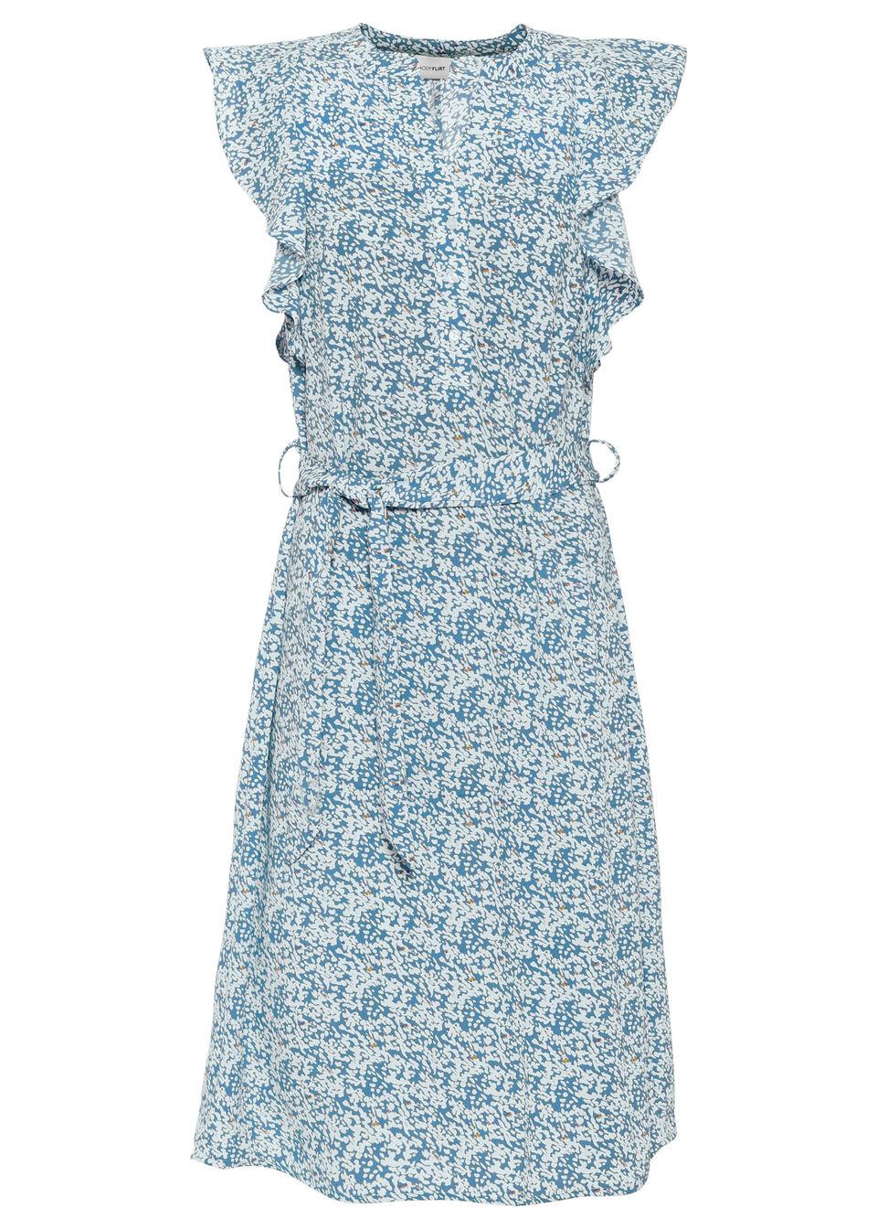 Sukienka bonprix niebiesko-biały w kwiaty