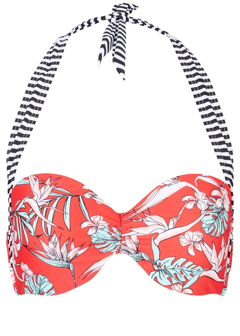 Biustonosz bikini na fiszbinach bonprix czerwony w kwiaty