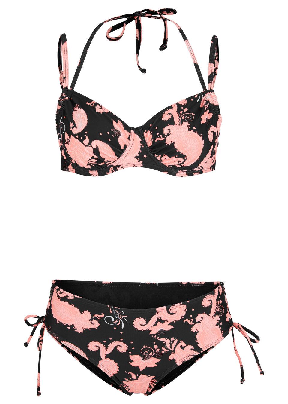 Bikini na fiszbinach (2 części) bonprix czarno-różowy