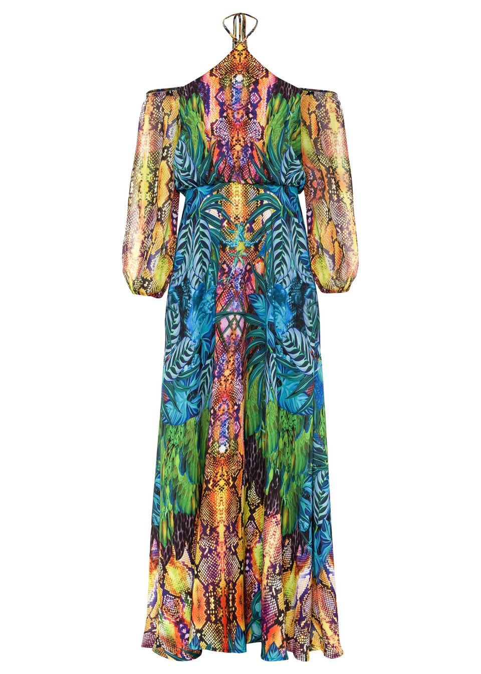 Sukienka letnia bonprix niebiesko-zielony z nadrukiem