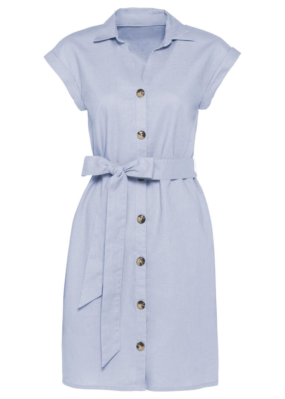 Sukienka lniana bonprix niebieski gołębi