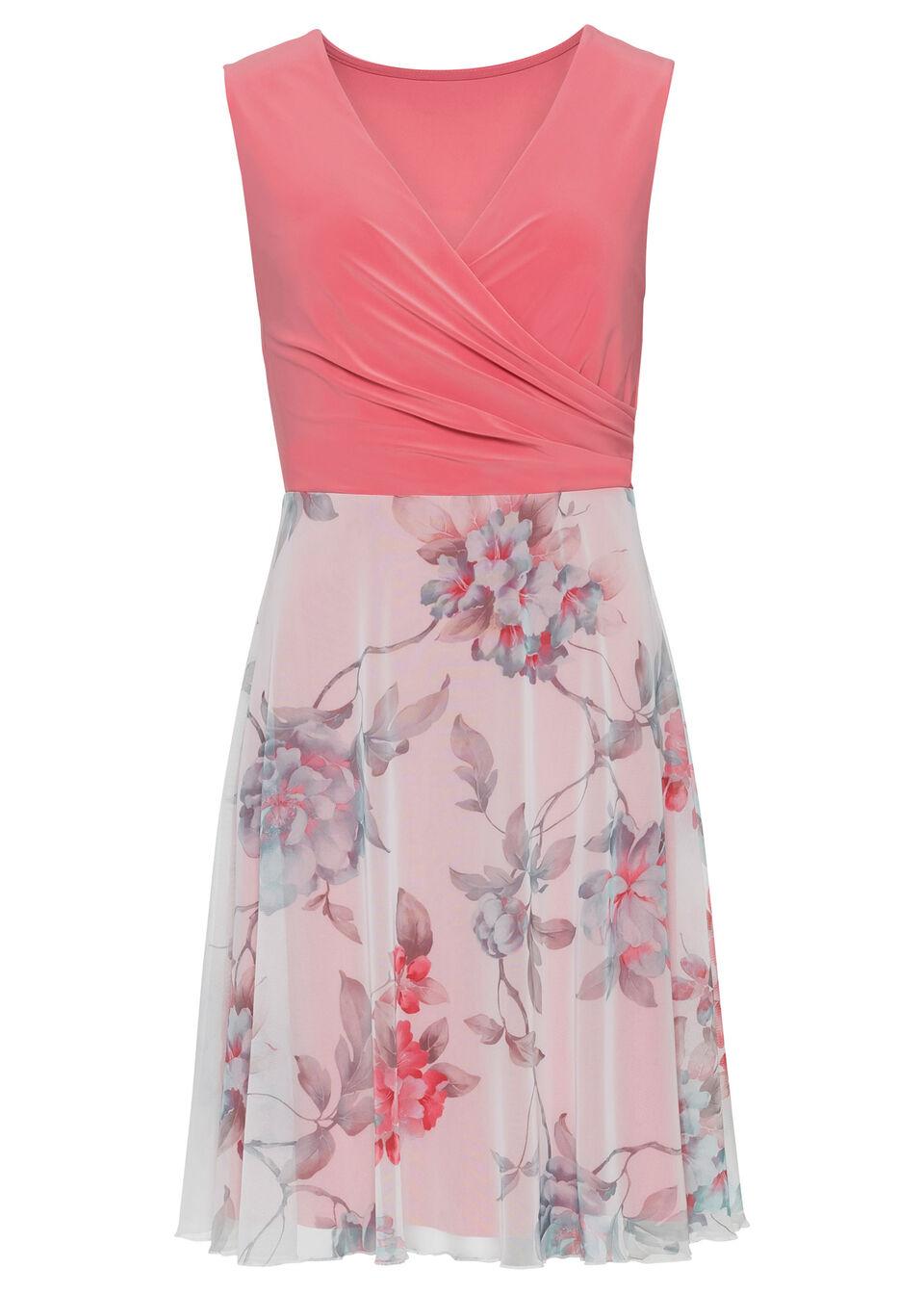 Sukienka z częścią spódnicową z siatkowego materiału z nadrukiem bonprix koralowo-biel wełny w kwiaty