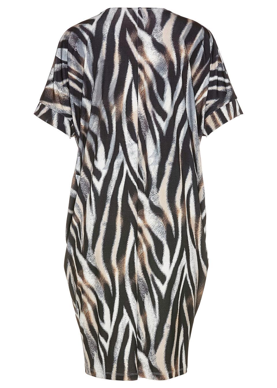 Sukienka kaftanowa z dżerseju bonprix w paski zebry