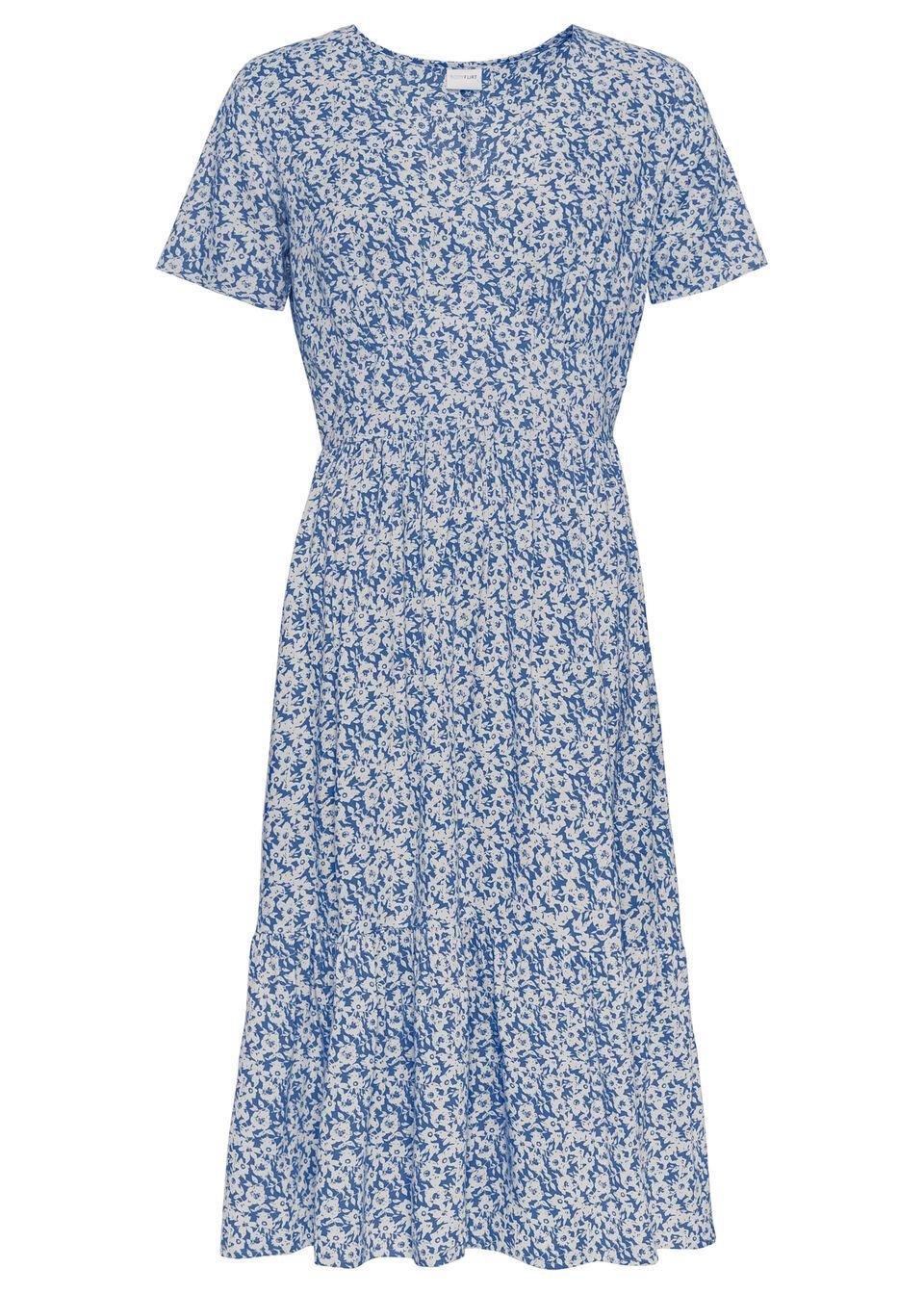 Sukienka o linii litery A bonprix lodowy niebieski - biały w kwiaty