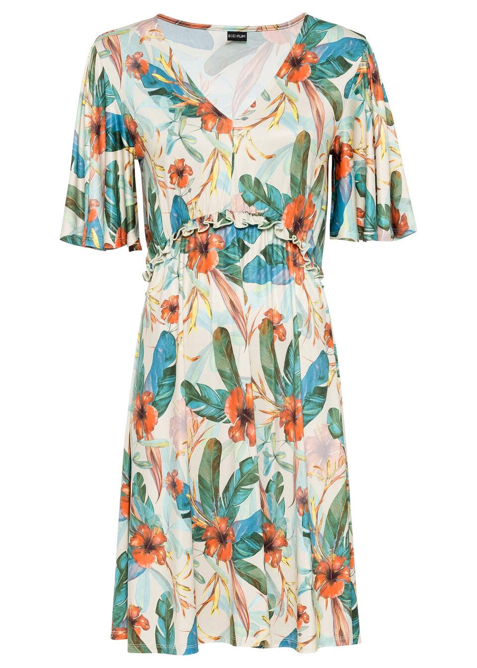 Sukienka bonprix beżowo-zielony w kwiaty