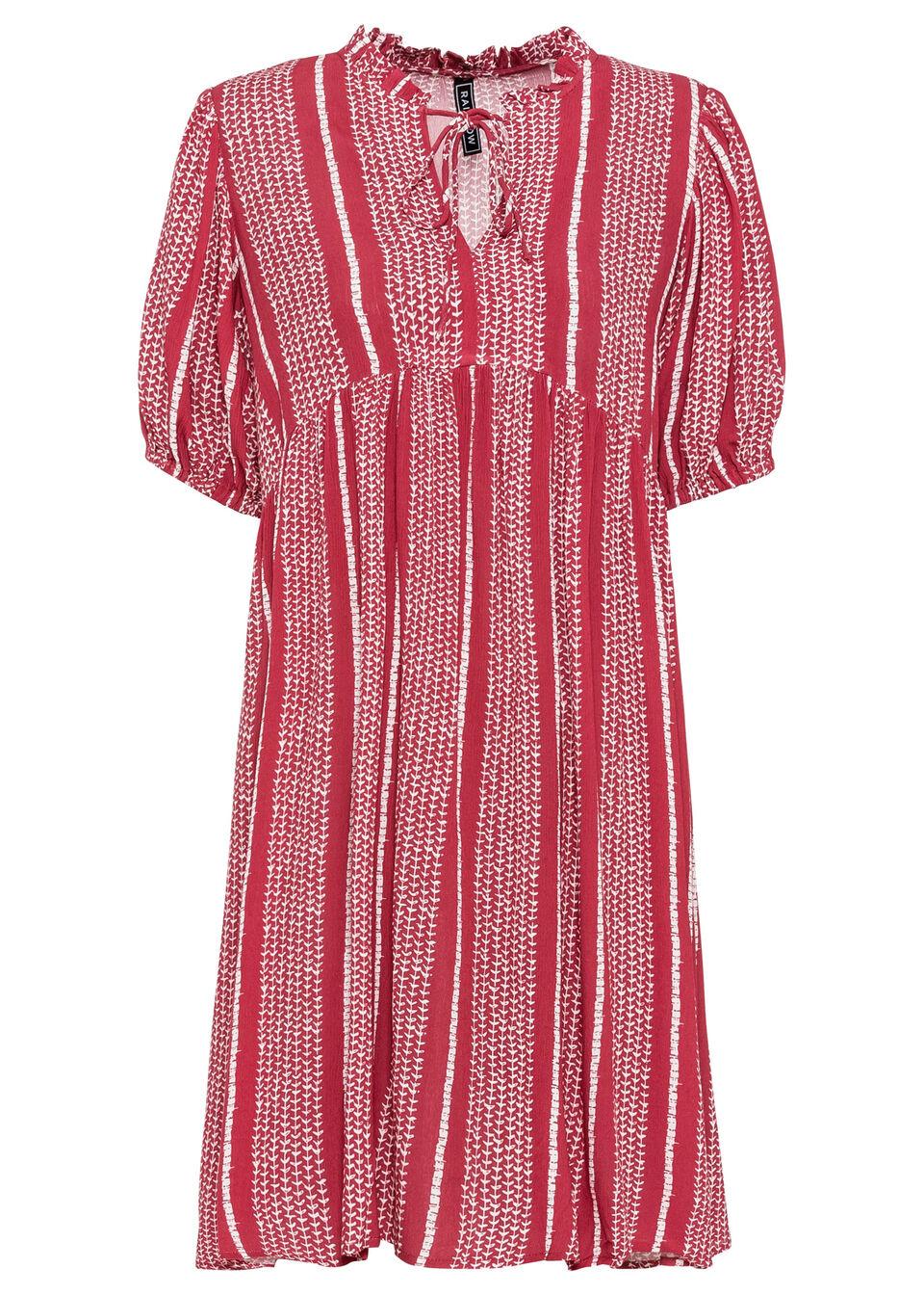 Sukienka z rękawami bufkami bonprix czerwono-biały w paski