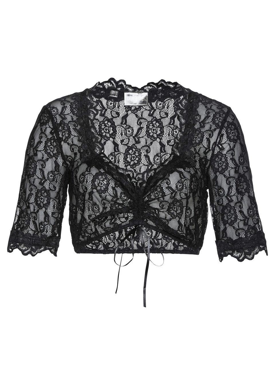 Bluzka koronkowa w ludowym stylu bonprix czarny