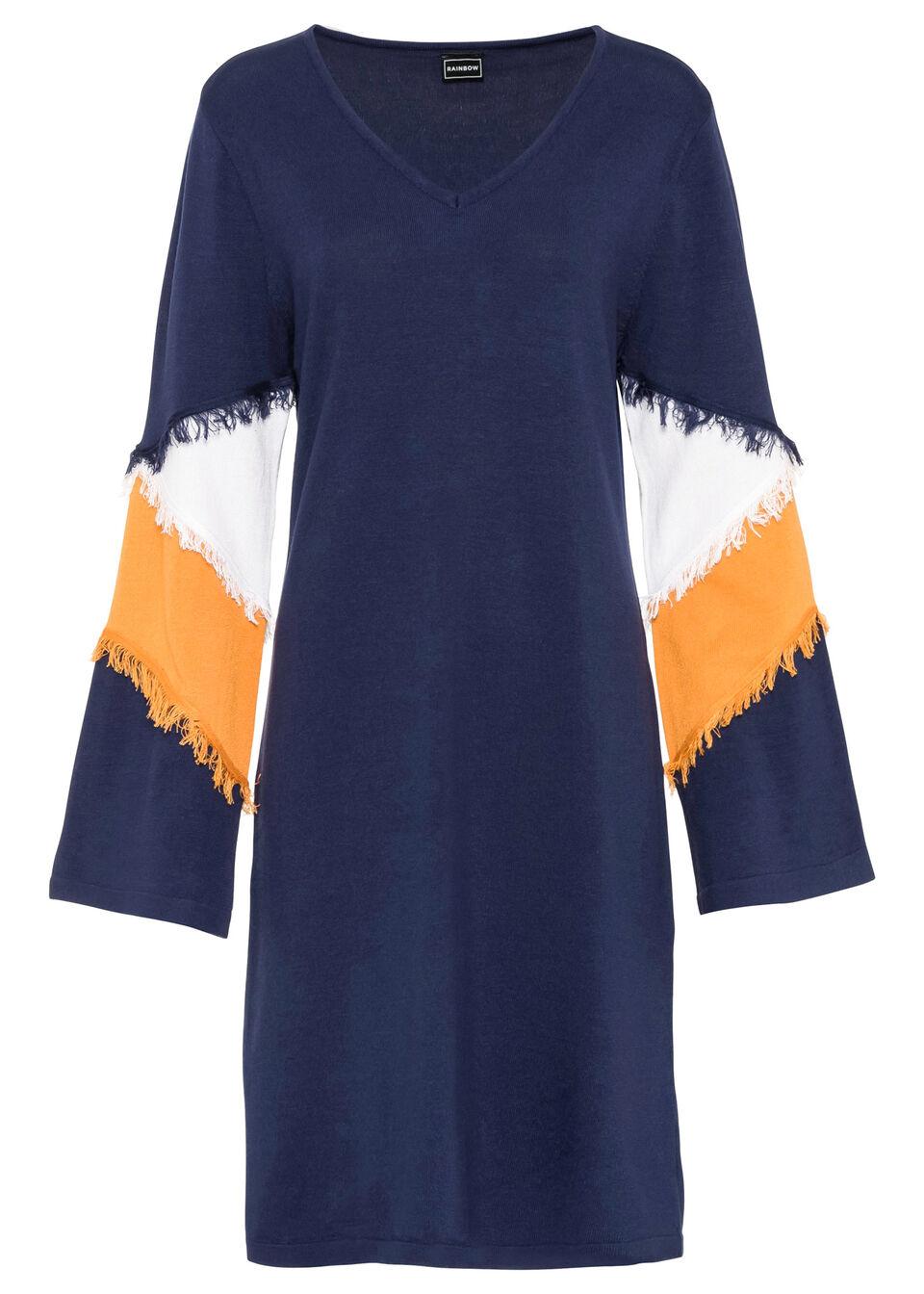 Sukienka dzianinowa z frędzlami bonprix ciemnoniebiesko-wielbłądzia wełna - biały