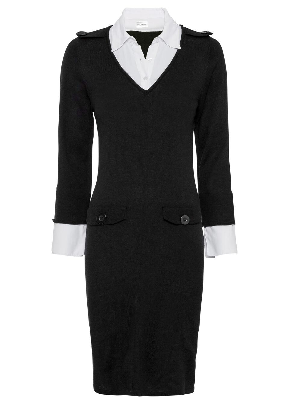 Sukienka dzianinowa z koszulową wstawką bonprix czarno-biały