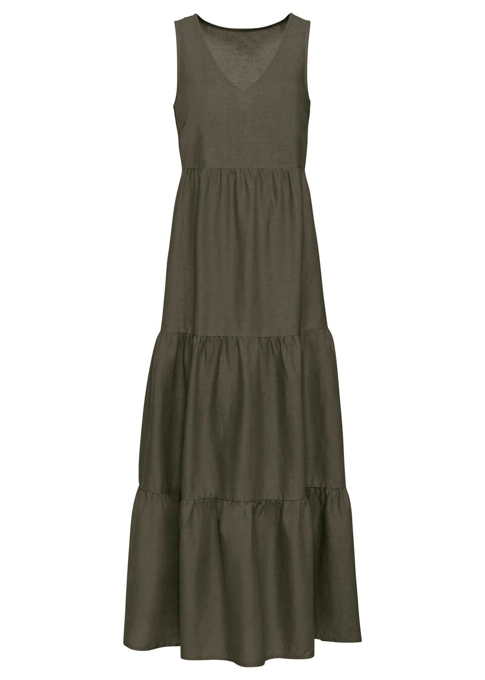 Długa sukienka z lnu bonprix ciemnooliwkowy