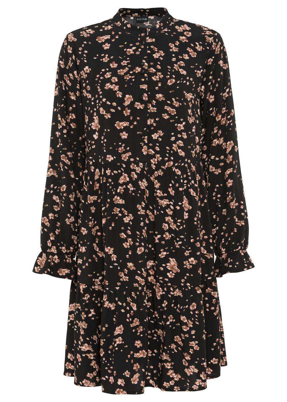 Sukienka koszulowa z nadrukiem bonprix czarny w kwiaty