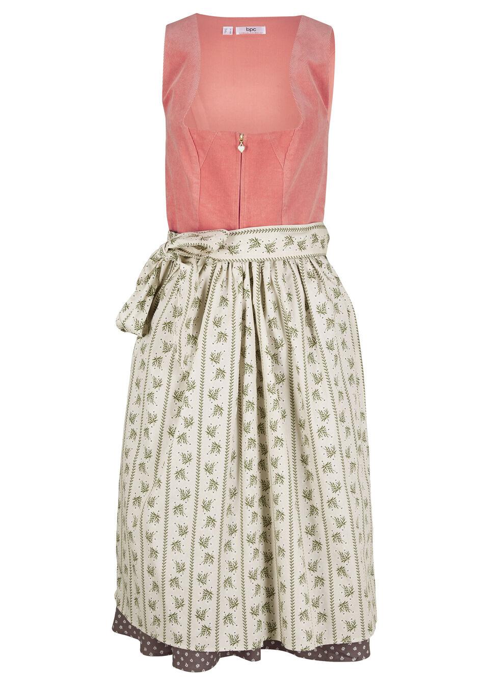 Sukienka w ludowym stylu, ze sztruksu bonprix dymny koralowy - brązowy