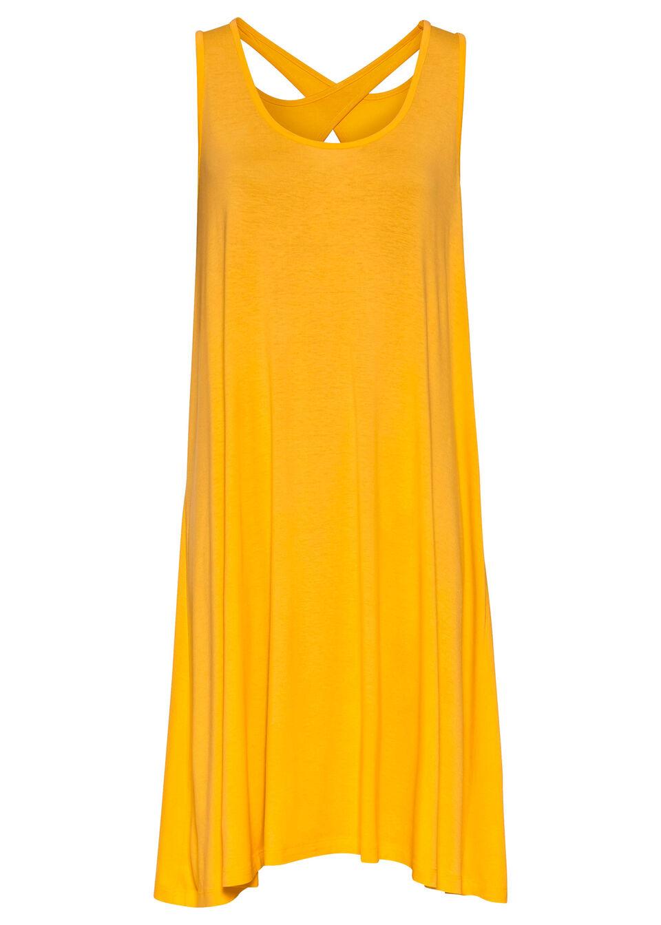 Sukienka ze skrzyżowanymi ramiączkami bonprix żółty szafranowy