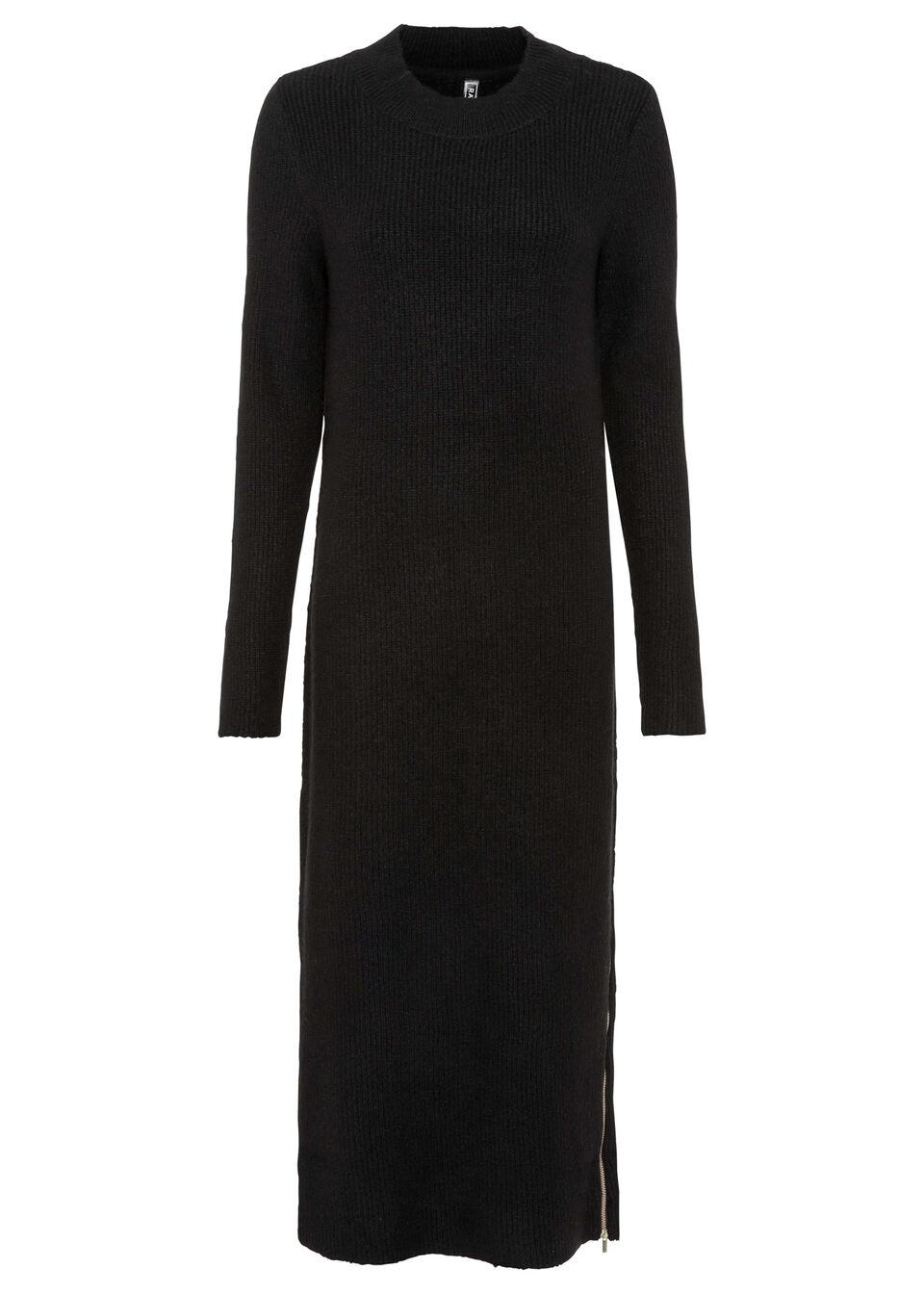 Sukienka dzianinowa z zamkiem bonprix czarny