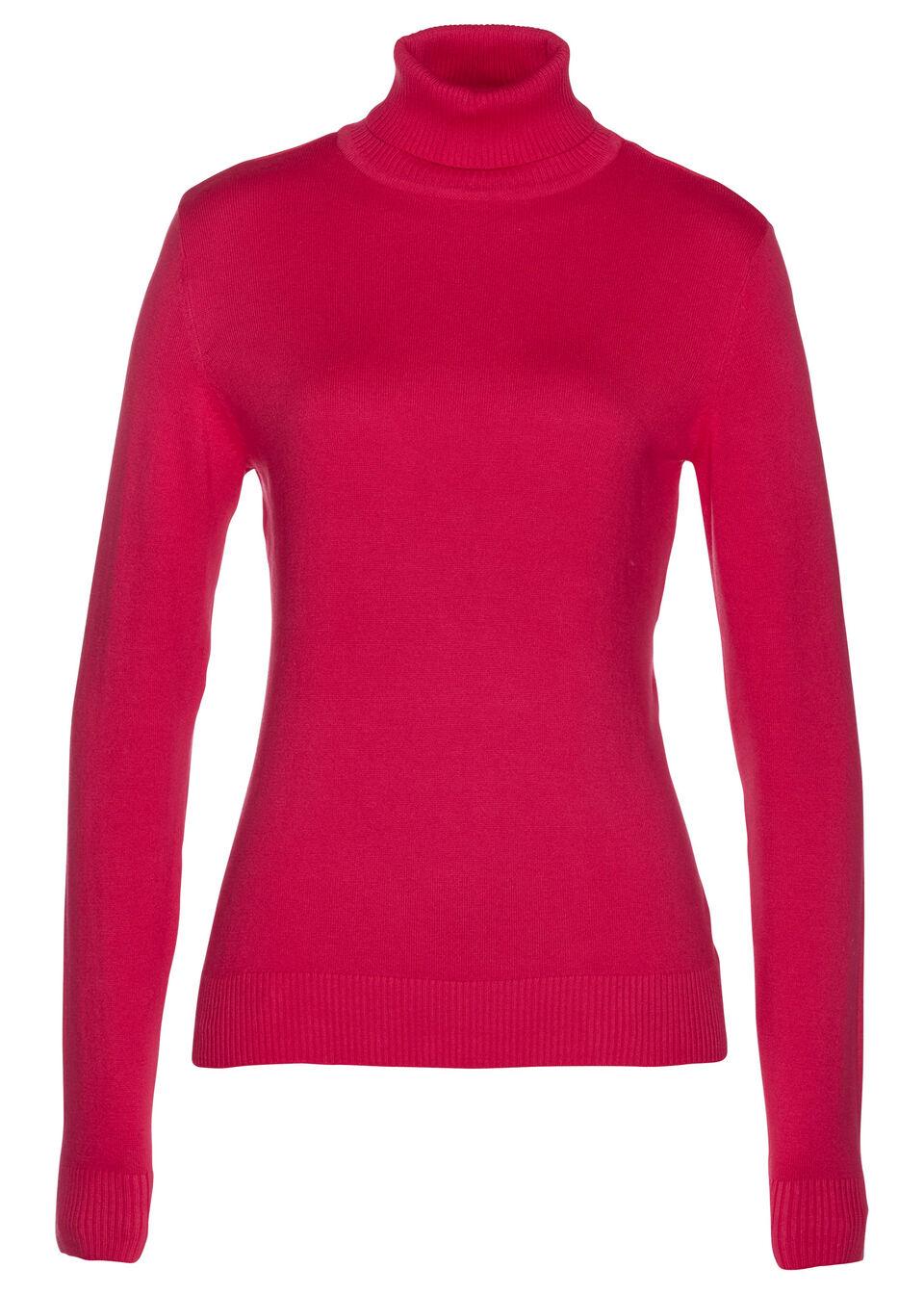 Sweter z golfem bonprix czerwień granatu