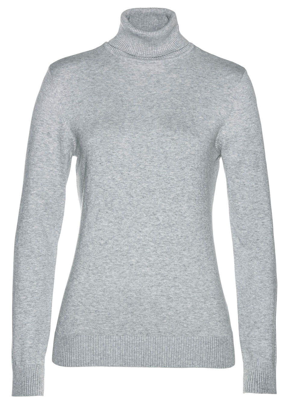 Sweter z golfem bonprix jasnoszary melanż
