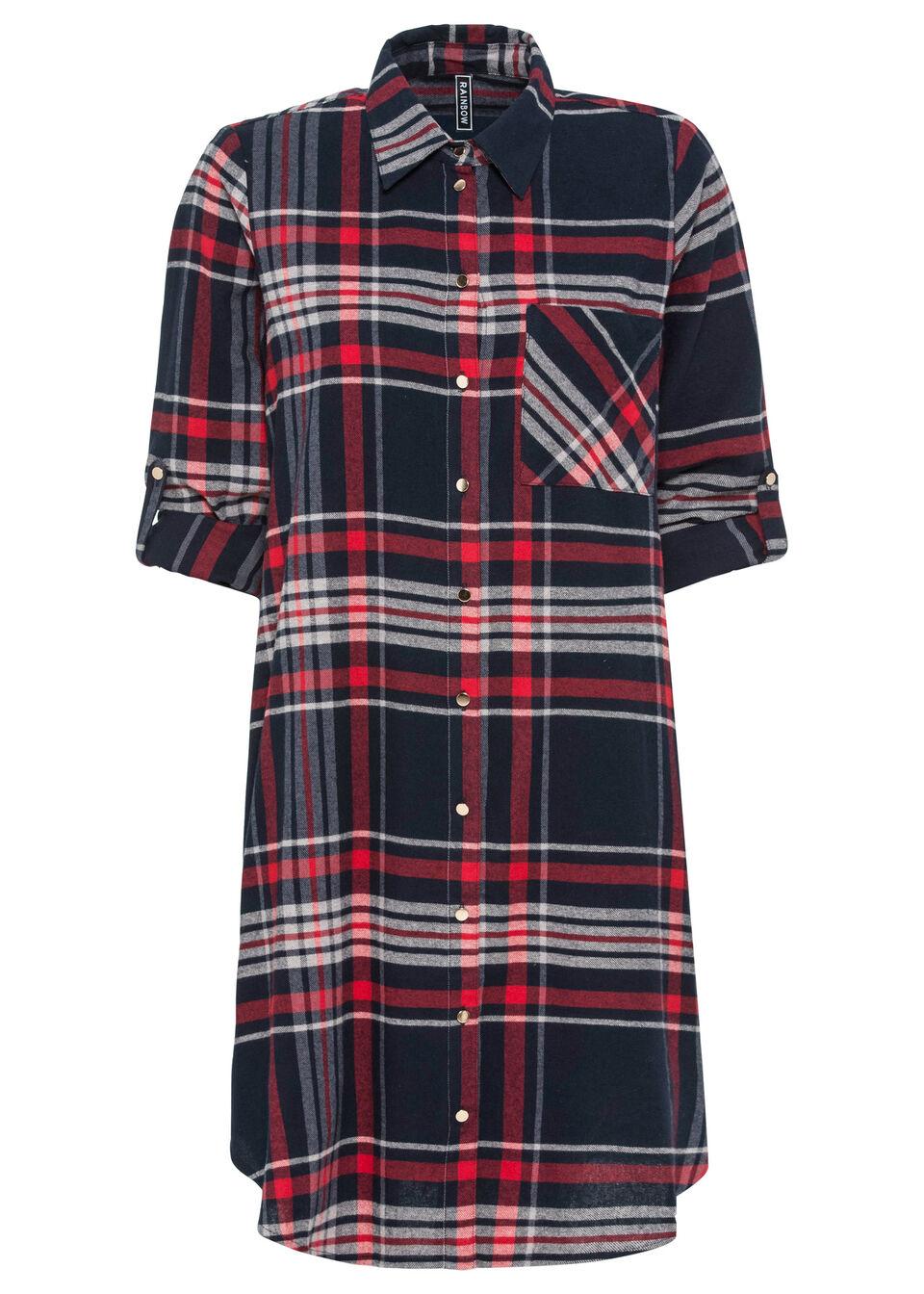 Фото - Платье-рубашка от bonprix цвет тёмно-синий-красный-белый в клетку