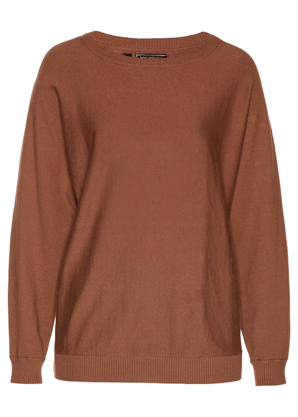Sweter z rękawami typu nietoperz bonprix kasztanowy brąz