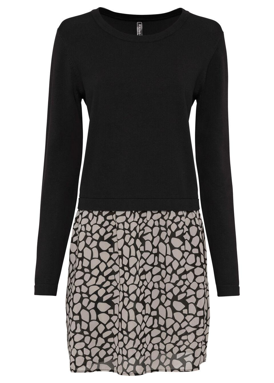 Sweter z wstawką w optyce spódnicy bonprix czarno-szary kamienisty