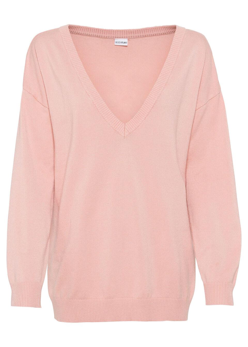 Sweter z dekoltem w serek oversize bonprix stary jasnoróżowy