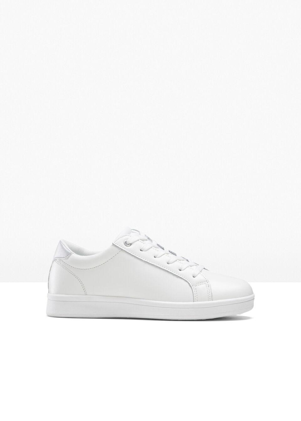 Sneakersy skórzane bonprix biało-srebrny kolor