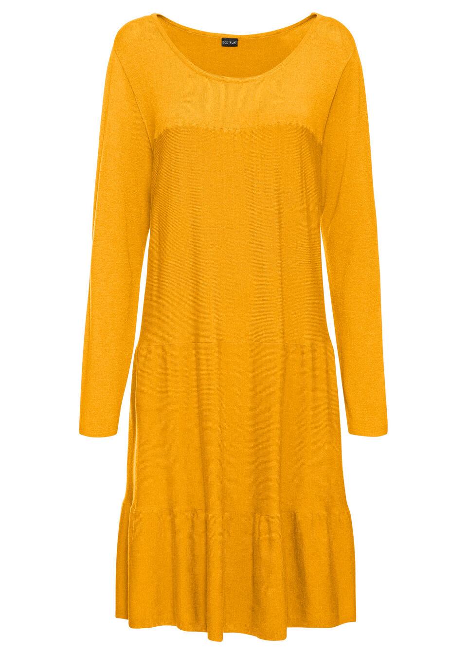 Sukienka dzianinowa bonprix żółty szafranowy