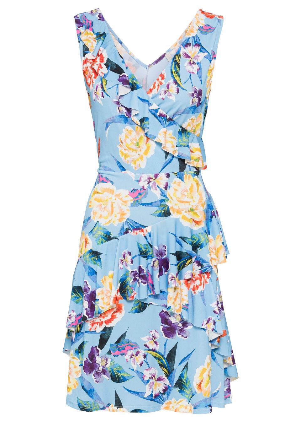 Sukienka midi w kwiaty bonprix jasnoniebiesko-czerwony