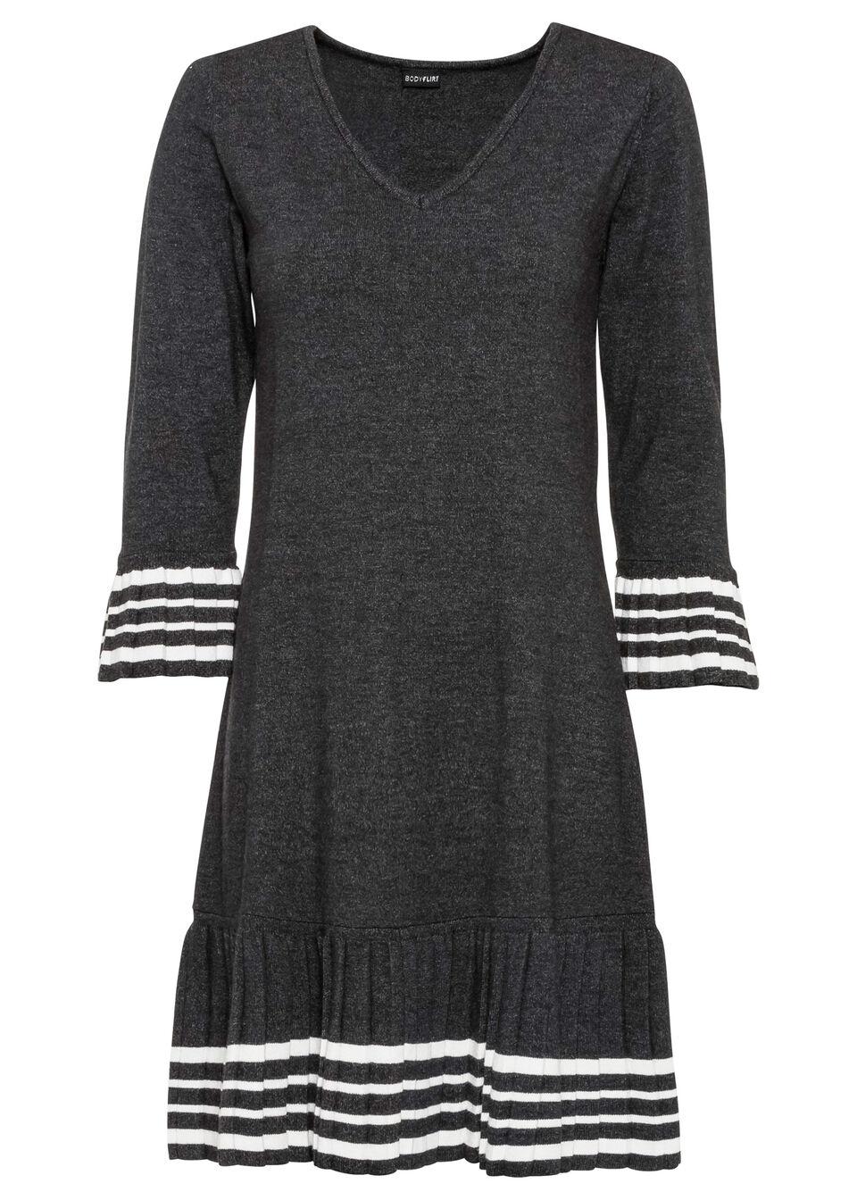 Sukienka dzianinowa z plisowaną częścią spódnicową bonprix antracytowy melanż - kremowy w paski