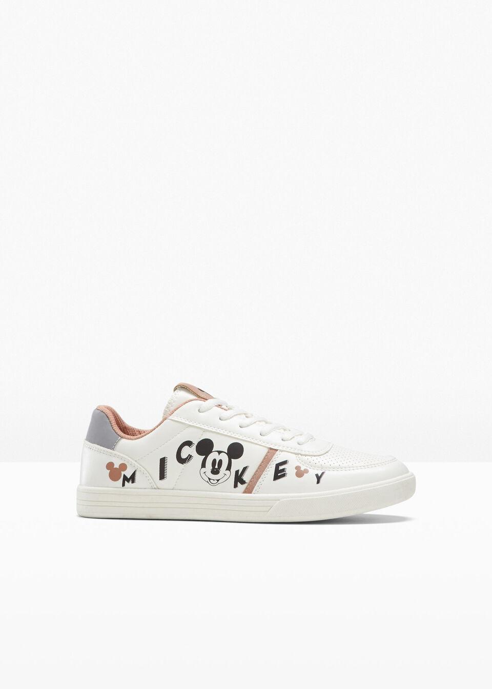 Sneakersy Myszka Miki bonprix biało-czarno-morelowy